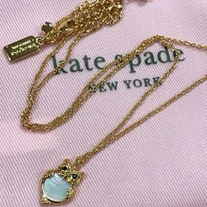 New Kate Spade gold into woods owl pearl necklace